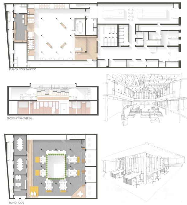 Proyecto Daría Zhogoleva, Pablo Poblet, Hugo Villanueva  // planta baja-croquis con gradas; planta superior-croquis puestos de trabajo; sección transversal.