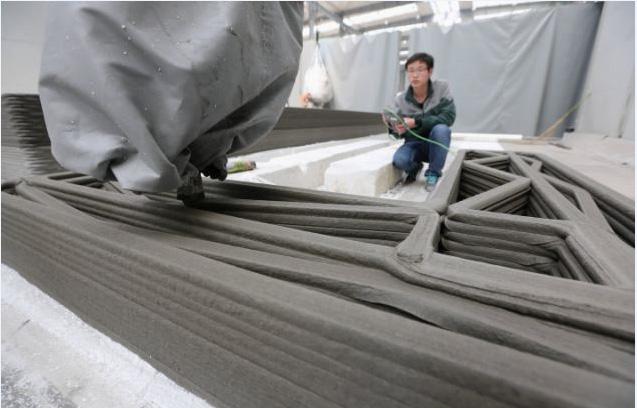 Empresa Winsun. Construcción impresa en 3D. Fuente: www.yhbm.com